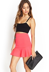 Forever 21 Neon Fluted Skirt Neon Pink