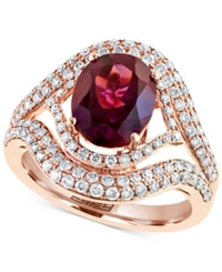 Effy Collection Effy Rhodolite 5 1 3 Ct. T.W. And Diamond 9 10 Ct. T.W. Ring In 14K Rose Gold