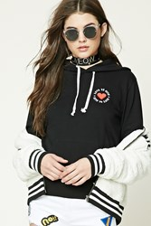 Forever 21 Love To Give Fleece Hoodie Black White