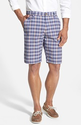 Cutter Buck 'Colton' Plaid Flat Front Shorts Ballpoint Blue