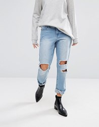 Vero Moda Distressed Mom Jeans With Extreme Rips Light Blue