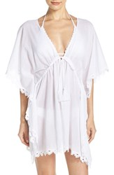 Seafolly Women's Crochet Trim Cover Up Caftan White