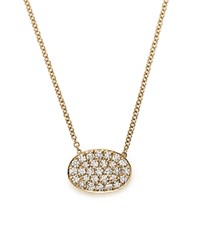 Bloomingdale's Diamond Pave Oval Pendant Necklace In 14K Yellow Gold .45 Ct. T.W.