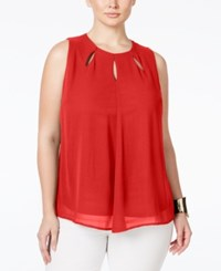 Monteau Plus Size Sleeveless Cutout Top Red