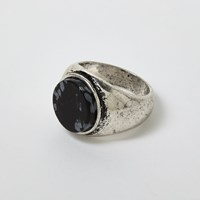 River Island Mens Silver Tone Antique Stone Ring