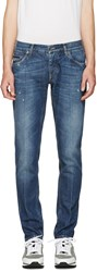 Dolce And Gabbana Blue Embroidered Crest Jeans