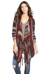 Junior Women's Sun And Shadow Intarsia Stripe Blanket Cardigan Red Ochre Sculpture Jacquard