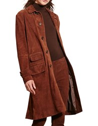 Lauren Ralph Lauren Decandira Long Sleeve Suede Coat Brown