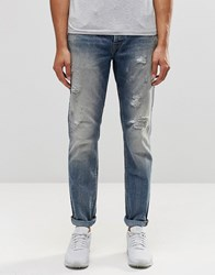 Only And Sons Only And Sons Slim Fit Jeans With Rip Repair Detail Blue