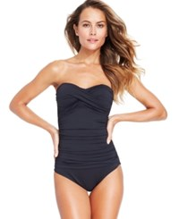 Anne Cole Twisted Front Bandeau One Piece Swimsuit Women's Swimsuit Black