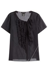 Marc Jacobs Cotton Voile Ruffle Cap Sleeve Top Black