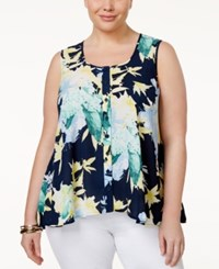 Styleandco. Style And Co. Plus Size Floral Print Sleeveless Blouse Only At Macy's Arabesque Floral