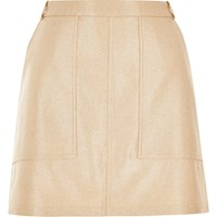River Island Womens Gold Metallic Utility Mini Skirt