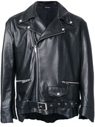Christian Dada Classic Leather Biker Jacket Black