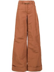 Rosie Assoulin Flared Trousers Brown