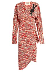 A.W.A.K.E. Long Sleeve Wrap Dress Red Multi