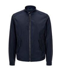 Pal Zileri Leather Trim Bomber Jacket Navy