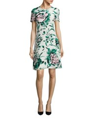 Burberry Sam Floral Print Silk A Line Dress Emerald Green
