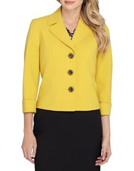 Tahari By Arthur S. Levine Plus Notched Button Front Jacket Mustard Yellow
