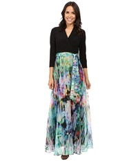 Christin Michaels Madison Mixed Media Maxi Black Multi Women's Dress
