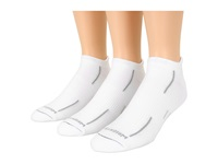 Wrightsock Stride Tab 3 Pair Pack White Grey Stripe Crew Cut Socks Shoes