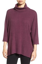 Bobeau Women's Split Back Rib Cowl Neck Sweater Heather Purple Nectar
