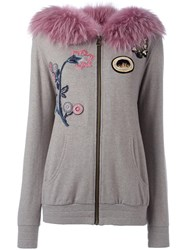 Mr And Mrs Italy Fur Hooded Applique Detail Cardigan Grey