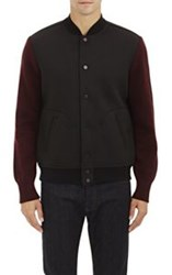 Barneys New York Bonded Jersey Baseball Jacket Black