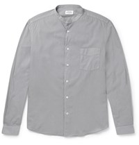 Hartford Grandad Collar Cotton Shirt Gray