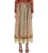 Valentino Printed Cotton Muslin Maxi Skirt Multi