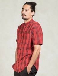 Red Hamilton Stand Collar Shirt