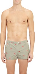 Parke And Ronen Flamingo Embroidered Board Shorts Green Size 32