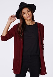 Missguided Knit Boyfriend Cardigan Burgundy