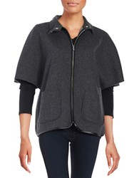Calvin Klein Leatherette Trim Wool Zip Up Charcoal