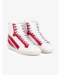 Saint Laurent Star Leather Hi Top Sneakers White Red Blue Black