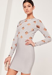 Missguided Premium Long Sleeve Bandage Dress Grey No