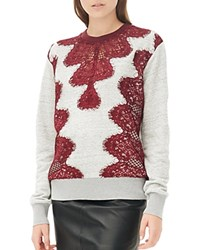 Sandro Tipsy Lace Overlay Sweatshirt Gris Chine