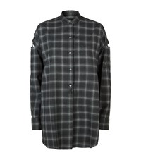 Helmut Lang Cut Out Sleeve Flannel Shirt Female Grey