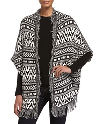 Chelsea And Theodore Shawl Collar Open Front Fringe Cardigan Black Whit