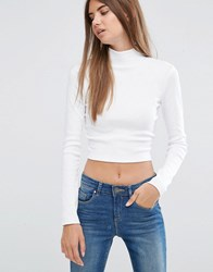 Asos Crop Top With Turtle Neck In Space Dye White