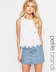 New Look Petite Scallop Shell Top White
