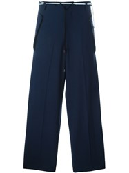 Tim Coppens Pleated Drawstring Tapered Trousers Blue