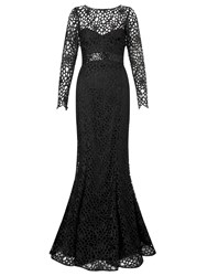 Ariella Dakota Longsleeve Lace Evening Gown Black