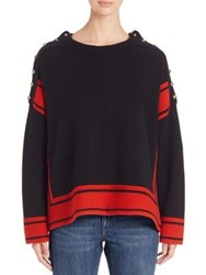 Alexander Mcqueen Cashmere Oversized High Low Sweater Black Red
