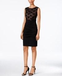Connected Sleeveless Lace Sheath Dress Black Gold