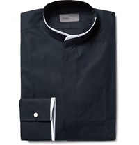 Kilgour Slim Fit Contrast Tipped Grandad Collar Cotton Shirt Midnight Blue