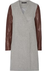 Theory Quennel Leather Paneled Felted Wool Blend Coat Gray