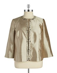 Nipon Boutique Plus Embellished Open Front Jacket Champagne