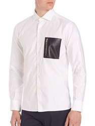 Ovadia And Sons Soho Leather Pocket Shirt White