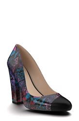 Shoes Of Prey Women's Cap Toe Block Heel Pump Purple Print Leather